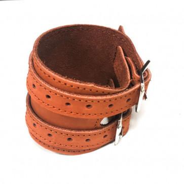 Læder håndledsbeskyttelse i brun læder.