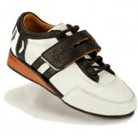 Vægtløftersko i ægte læder. Håndlavede sko med ægte træ i hælen.