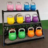 Competition stål kettlebells i farve efter vægt.