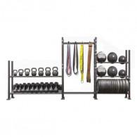 Stativ med 3 fag til vægtskiver, elastikker, bolde og andet træningsudstyr