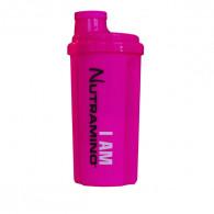 Nutramino pink shaker med stor drikkeåbning.